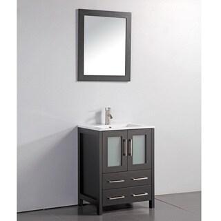 Link to Ceramic Top 24-inch Sink Espresso Bathroom Vanity and Matching Framed Mirror Similar Items in Bathroom Vanities