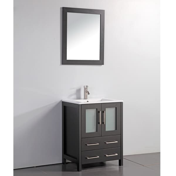 Shop Ceramic Top 24 Inch Sink Espresso Bathroom Vanity And Matching Framed Mirror Free