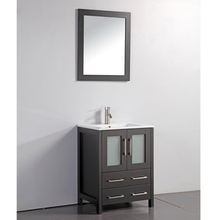 Ceramic Top 24-inch Sink Espresso Bathroom Vanity and Matching Framed Mirror