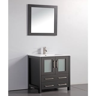 Ceramic Top 30-inch Sink Espresso Bathroom Vanity and Matching Framed Mirror