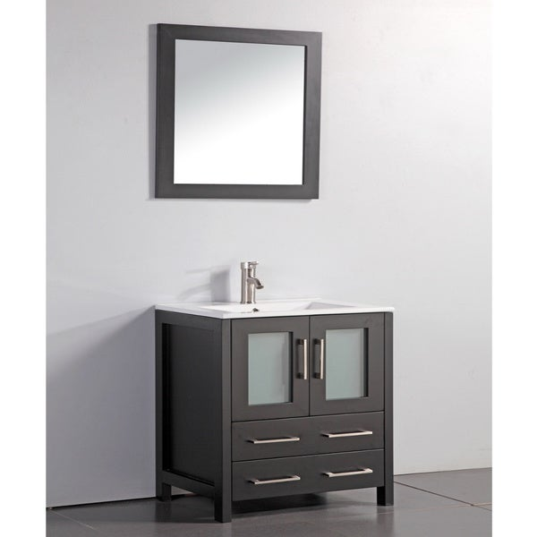 shop ceramic top 30 inch sink espresso bathroom vanity and matching framed mirror free