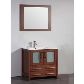 Ceramic Top 36-inch Sink Cherry Bathroom Vanity and Matching Framed Mirror