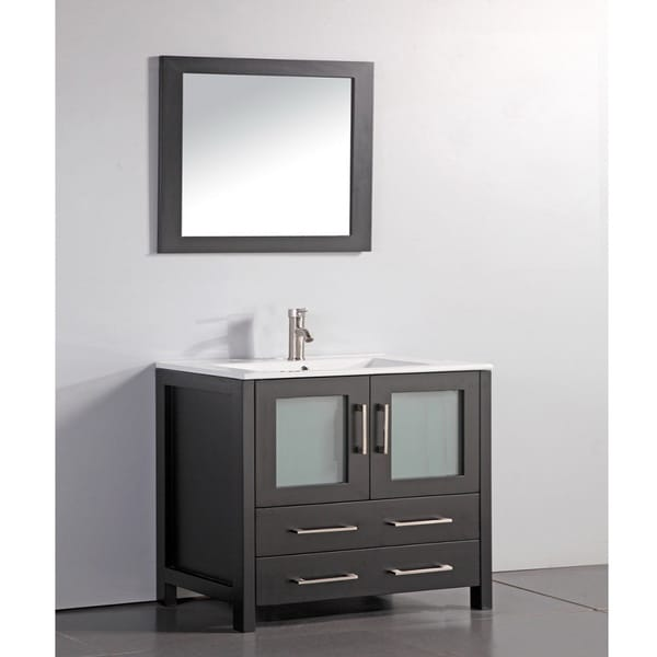 Ceramic Top 36 inch Sink Espresso Bathroom Vanity and