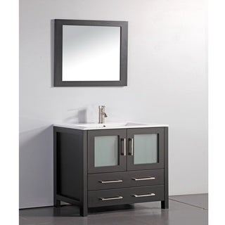Ceramic Top 36-inch Sink Espresso Bathroom Vanity and Matching Framed Mirror