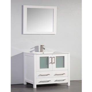 Ceramic Top 36-inch Sink White Bathroom Vanity and Matching Framed Mirror