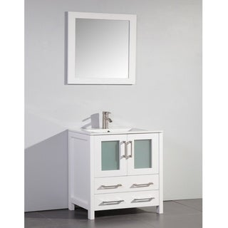 ceramic top 30 inch sink white bathroom vanity and matching framed mirror