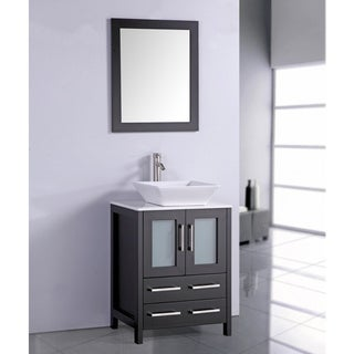 White Artificial Stone Top 24-inch Vessel Sink Espresso Bathroom Vanity and Matching Fram
