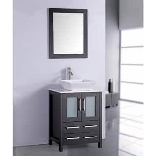 white artificial stone top 24 inch vessel sink espresso bathroom vanity and matching fram - Bathroom Sink And Mirror