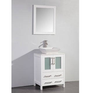 White Artificial Stone Top 24-inch Vessel Sink White Bathroom Vanity and Matching Framed