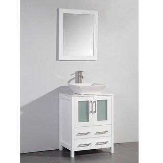 Legion Furniture 24 in Vessel bathroom vanity in white with Matching mirror