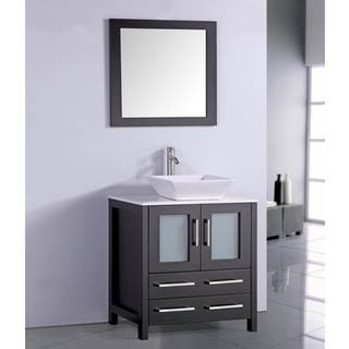White Artificial Stone Top 30 Inch Vessel Sink Espresso Bathroom Vanity And Matching Fram