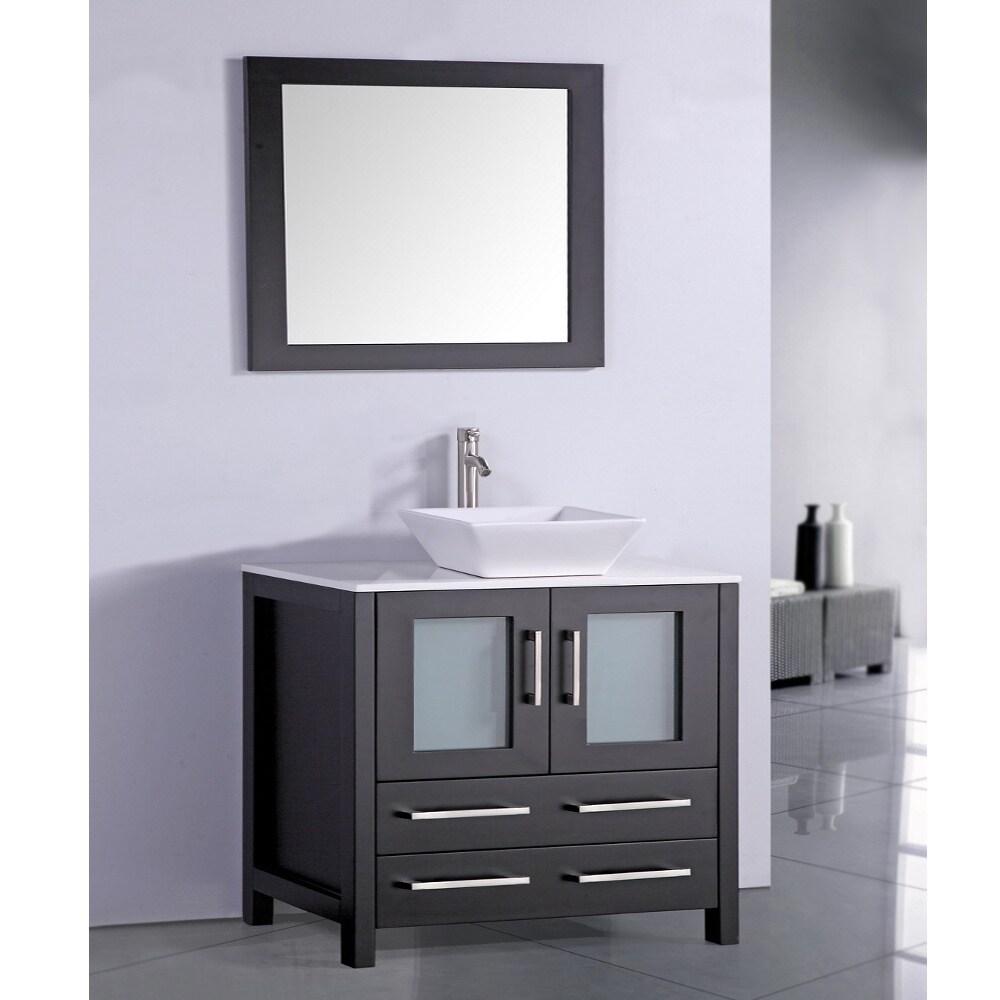 36 In Espresso Bathroom Vanity With Vessel Bowl And Mirror