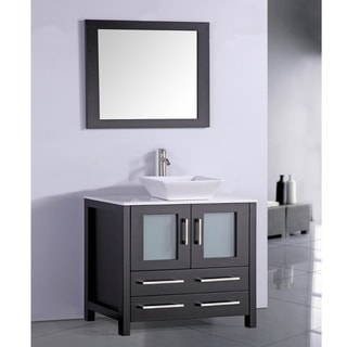White Artificial Stone Top 36-inch Vessel Sink Espresso Bathroom Vanity and Matching Fram