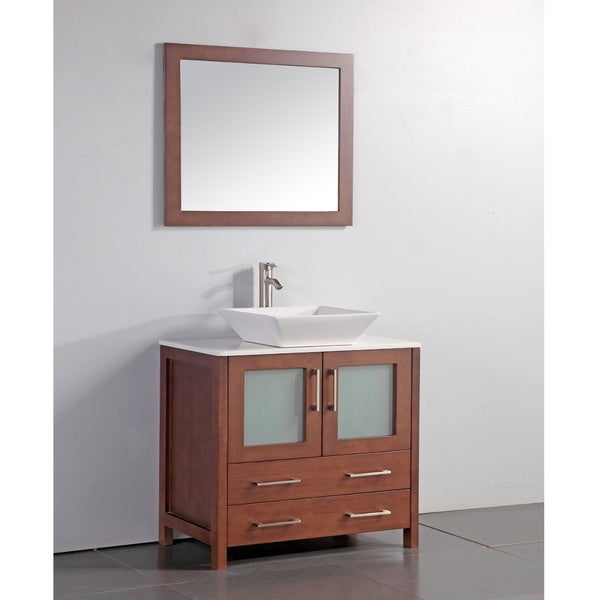 White Artificial Stone Top 36-inch Vessel Sink Cherry Bathroom Vanity and Matching Mirror