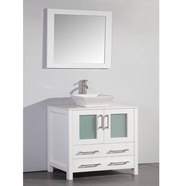 36 In White Bathroom Vanity With Vessel Bowl And Mirror