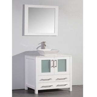White Artificial Stone Top 36-inch Vessel Sink Bathroom Vanity and Matching Framed Mirror