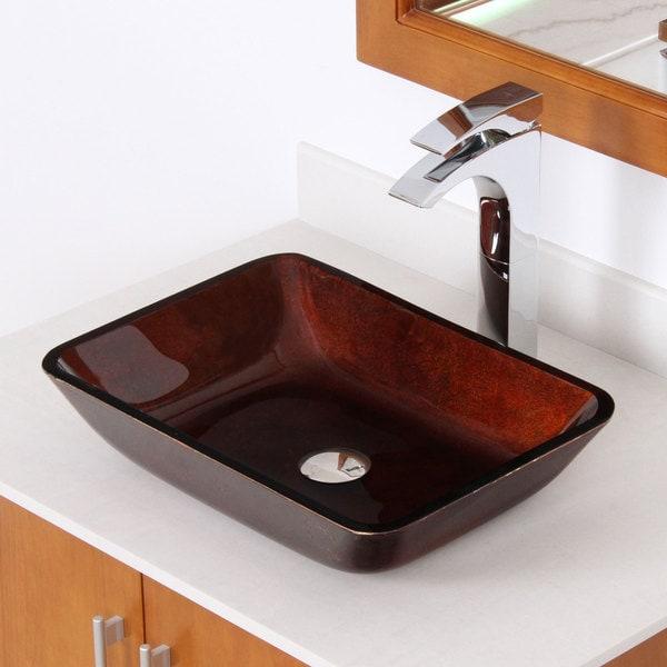 Elite 1407 Rectangle Artistic Bronze Tempered Glass Bathroom Vessel Sink