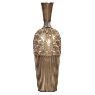 Tall Gold Gem Studded Resin Vase