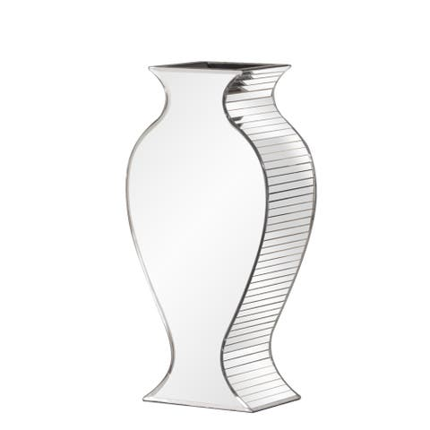 Small Silver Rounded Mirrored Glass Vase