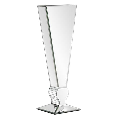 Tall Mirrored V-shaped Glass Vase