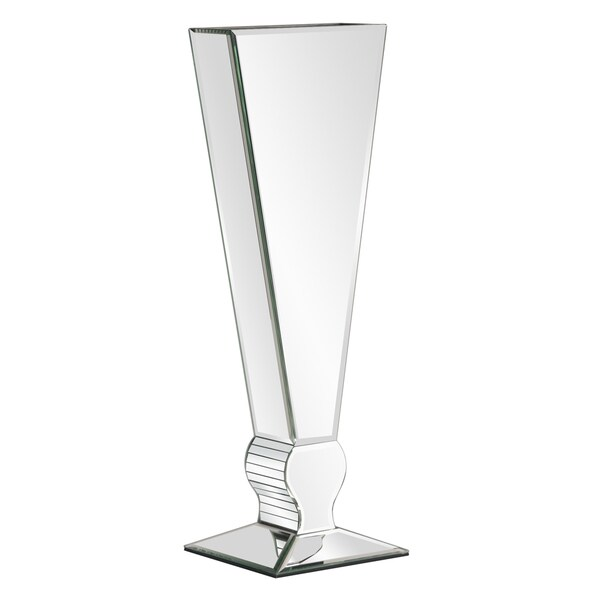 Tall mirrored v shaped glass vase free shipping today for Tall glass mirror