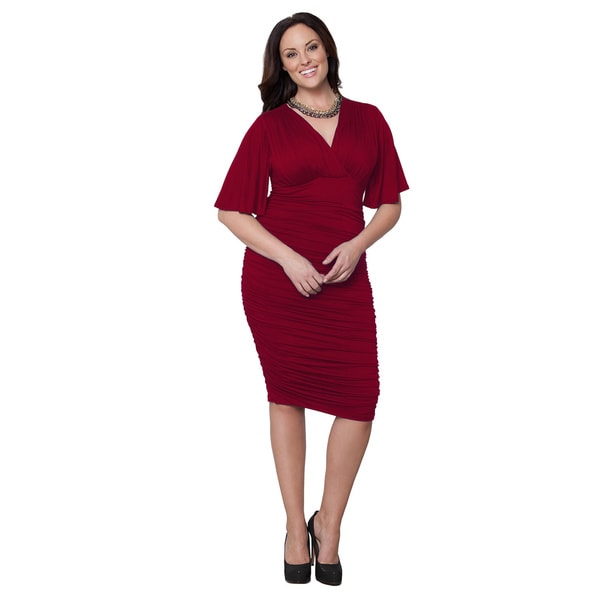 Kiyonna Women's Plus Size 'Rumor' Red Ruched Dress