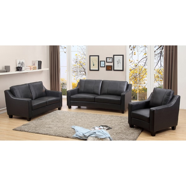aspen charcoal grey top grain leather living room sofa set free shipping today. Black Bedroom Furniture Sets. Home Design Ideas
