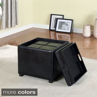 Furniture of America Lydian Leatherette Nesting Storage Ottomans
