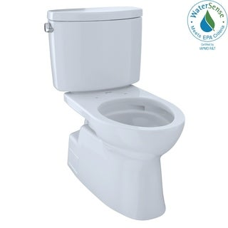 Toto Vespin II Two-Piece Elongated 1.28 GPF Universal Height Skirted Design Toilet with CeFiONtect CST474CEFG#01 Cotton White