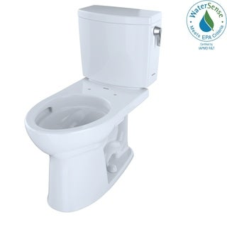 Toto Drake II 1G 2-Piece Elongated 1.0 GPF Toilet with CeFiONtect and Right-Hand Trip Lever, Cotton White (CST454CUFRG#01)