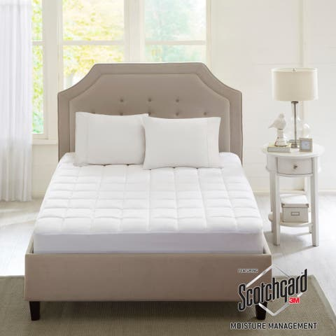 Sleep Philosophy Montview 3M Scotchgard Microfiber Mattress Pad - White