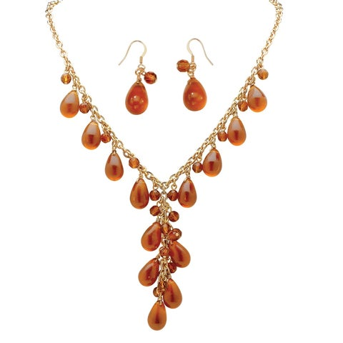 "2 Piece Pear-Shaped Amber Beaded ""Y"" Necklace and Drop Earrings Set in Yellow Gold Tone Bo"