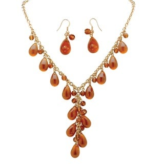 "PalmBeach 2 Piece Pear-Shaped Amber Beaded ""Y"" Necklace and Drop Earrings Set in Yellow Gold Tone Bold Fashion"
