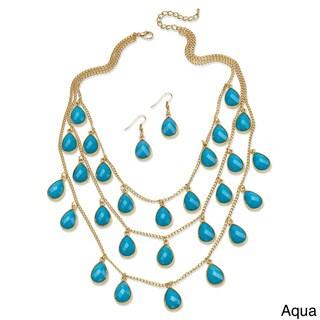 2 Piece Aqua or Coral Teardrop Checkerboard-Cut Cabochon Jewelry Set in Yellow Gold Tone B