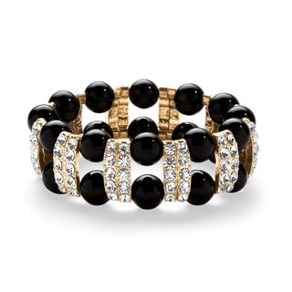 Black Beaded Bracelet with Crystal Accents in Yellow Gold Tone Bold Fashion
