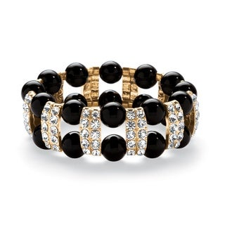 PalmBeach Black Beaded Bracelet with Crystal Accents in Yellow Gold Tone Bold Fashion