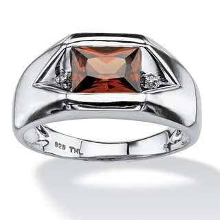 Men's 1.51 TCW Red Cubic Zirconia Ring with Cubic Zirconia Accents in Platinum over Sterli