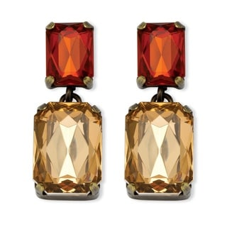 Champagne and Amber Crystal Drop Earrings in Antiqued Yellow Gold Tone Color Fun