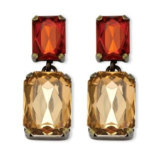 Champagne and Amber Crystal Drop Earrings in Antiqued Yellow Gold Tone Color Fun|https://ak1.ostkcdn.com/images/products/9170661/P16347378.jpg?impolicy=medium