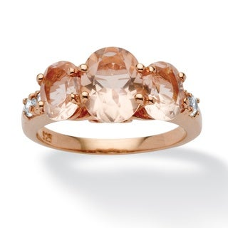 PalmBeach .24 TCW Cubic Zirconia and Oval-Cut Morganite Ring in Rose Gold over Sterling Silver Bold Fashion