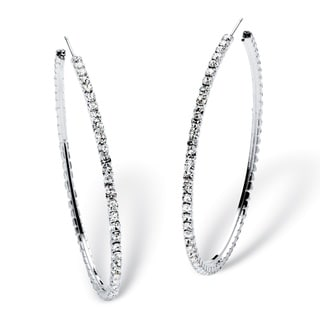 "PalmBeach Round Crystal Silvertone Hoop Earrings 3"" Diameter Bold Fashion"