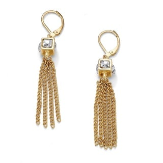 PalmBeach Crystal Cube and Chain Drop Earrings in Yellow Gold Tone Tailored