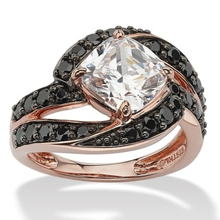 2.45 TCW Cushion-Cut Cubic Zirconia and Black Cubic Zirconia Ring in Rose Gold over Sterli