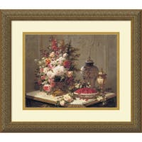 Framed Art Print 'Tulips and other Flowers' by Jean Baptiste Robie 17 x 15-inch