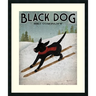 Ryan Fowler 'Black Dog Ski' Framed Art Print 30 x 36-inch