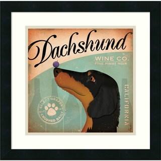 Stephen Fowler 'Dachshund Wine' Framed Art Print 18 x 18-inch