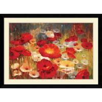 Framed Art Print 'Meadow Poppies I' by Lucas Santini 43 x 31-inch