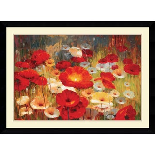Framed Art Print 'Meadow Poppies I' by Lucas Santini 43 x 31-inch