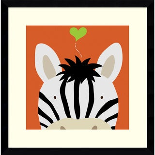 Yuko Lau 'Peek-a-Boo Zebra' Framed Art Print 17 x 17-inch