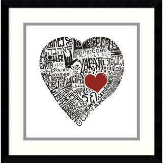 L.A. Pop Art 'Love in 44 Languages' Framed Art Print 17 x 17-inch